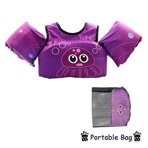 VIEKUU Schwimmflügel Schwimmwesten mit Schultergurt für Kinder von 2-6 Jahre 15-25kg Schwimmweste für Kleinkinder Schwimmen zu Lernen Schwimmhilfe für Jungen und Mädchen, Violett Qualle