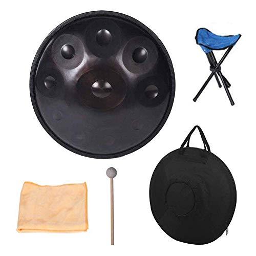 ALYR Handpan Profesional del Tambor de Acero, 10 Notas Artesanía Metal Instrumentos de percusión melódico Mano del Tambor con el Soporte del Tambor,B
