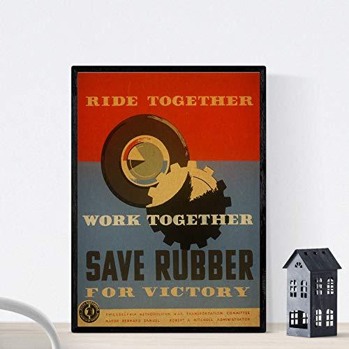 Nacnic Poster vintage. Cartel vintage del comite federal de Philadelphia. Tamaño A3