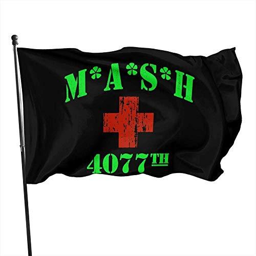 Outdoor Indoor Garten Banner Zeichen,MASH 4077. Logo Dekorative s Outdoor Künstliche Flagge für Garten Hof Dekorationen 3x5 Ft-Schwarz