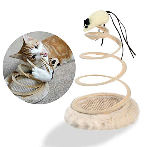 Andiker Interactive Cat Toy, Cat Plush Toy with Spiral Spring Plate and Funny Ball or Mouse Interactive Stainless Steel Spring Rotating Cat Creative Toy to Kill time and Keep Fit (Mouse)
