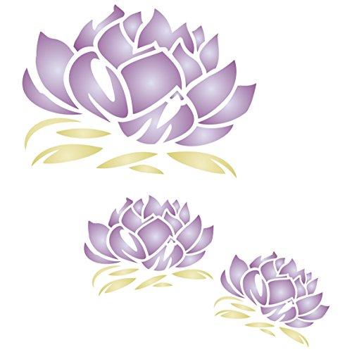 Lotusblüten-Schablone – wiederverwendbar, groß, Fancy Floral Mural Wandschablone – Verwendung auf Papierprojekten, Scrapbooks, Wänden, Böden, Stoff, Möbel, Glas, Holz usw, L