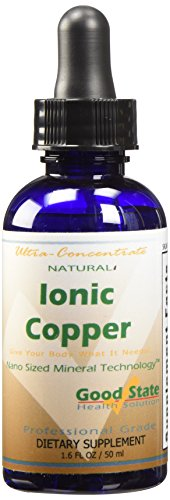 Good State | Ionic Copper | Natural | Liquid Concentrate | Nano Sized Mineral Technology | Professional Grade | 10 Drops Equals 2 mg | 1.6 Fl oz Bottle