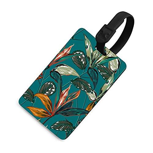 Etiqueta de equipaje duradera para niños, etiquetas identificadoras de bolsa con cubierta de privacidad, accesorios de etiqueta de viaje para maleta, avión, mochilas, bosque tropical botánico