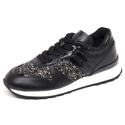Hogan F7070 Sneaker Donna Black/Silver R261 Scarpe Glitter Shoe Woman [35]