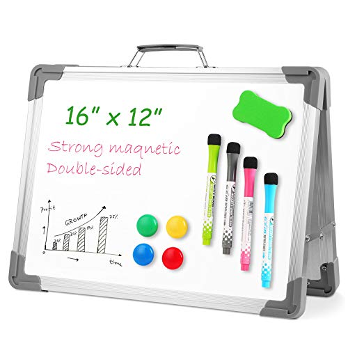 Onlyoung White Board Dry Erase Boards Magnetic Whiteboard 12'' x 16'', Portable Double Sided Desktop Whiteboards, Foldable White Board Stand Easel for Kids Drawing School Teaching Office Wall