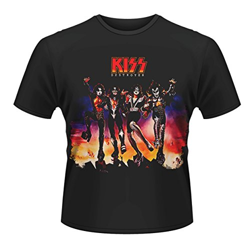 Plastic Head Kiss Destroyer-Camiseta Hombre,, Negro (Schwarz - Schwarz), Large