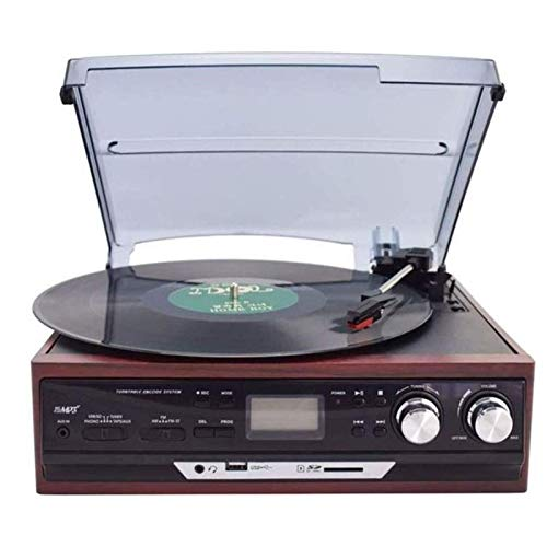 JJSFJH Wireless-Drehscheibe Hallo-Fi System Lautsprecher, Vinyl-Plattenspieler Magnetkassette Stereo, Bluetooth-Drehscheibe-Superior (Color : Brown)