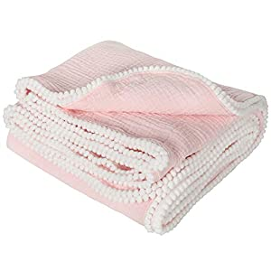 TILLYOU Organic Muslin Swaddle Blanket for Infant, Newborn, Toddler, 100% Soft Cotton Swaddling Receiving Blanket with Pom Pom, Large Lightweight Baby Wrap Blanket, 47×47 Baby Pink