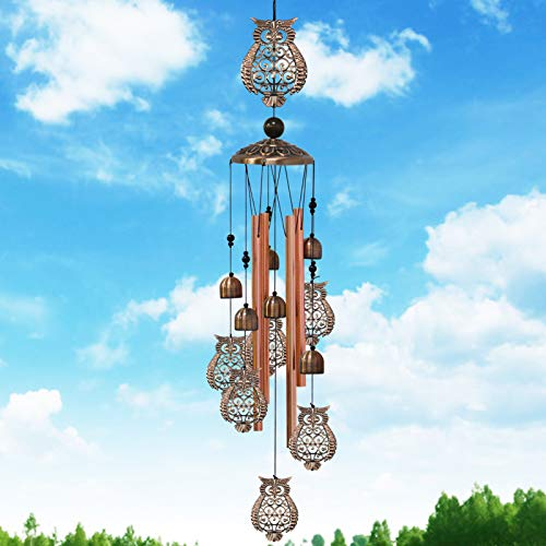 Greenke Owl Wind Chimes for Outside, Birthday Gardening Gifts for Mom Grandma Friends, Retro Bell Waterproof Windchimes Deep Tone for Outdoor Garden Patio Porch Decorations