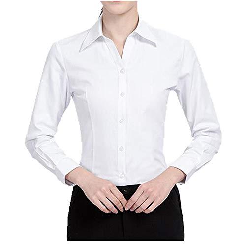 NOBRAND Camisa de vestir formal de primavera casual para mujer con cuello cuadrado delgado overol de manga larga