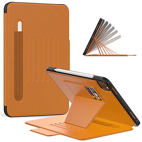 Slim Protective Cases for iPad Pro 11 2nd Gen 2020 & 1st Gen 2018 with Pencil Holder, Full Body Protective Shockproof Cover with Auto Sleep/Wake, Support 2nd Gen Pencil Charging ( Color : Brown )