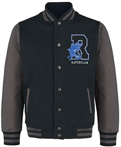 HARRY POTTER Ravenclaw - Quidditch Hombre Chaqueta Universitaria jaspeado negro/gris L, 100% algodón,
