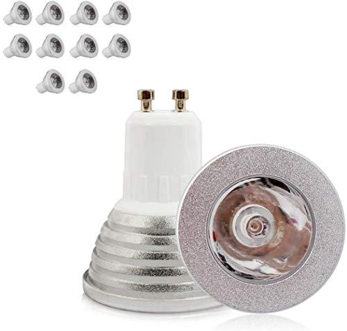 10Stück-Lampe LED 3W GU10RGB LED Leuchtmittel LED Farbwechsel Glühbirne mit Fernbedienung IR (150–1800LM, AC 85–265V)-16Farben mit infrarot, 60° Winkel Des Kabelbaum