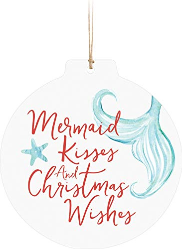 Not Branded Mermaid Kisses Christmas Wishes Nautical Blue 3 x 3 Wood Figurine Ornament