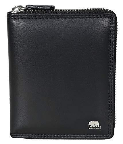 Brown Bear Geldbörse Leder Schwarz Reißverschluss RFID Schutz hochwertig Doppelnaht Herren Hoch-Format Damen Geldbeutel Männer Portemonnaie Portmonaise Frauen Ledergeldbeutel Reißverschluss-Börse