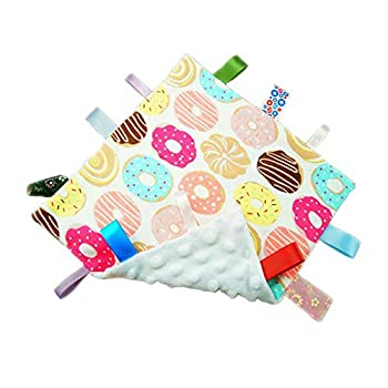 Lovey Baby Security Tags Blanket Soft Comfort Soothing Sensory Tag Plush Toy with Colorful Textured Ribbon Tag Blanket