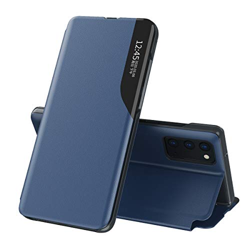 Oihxse Smart View Cover Compatible pour Samsung Galaxy Note 10 Plus Coque Étui à Rabat Housse en Cuir avec [Fenêtre de Vue] [Fonction Stand] Ultra Léger Antichoc Intelligent Flip Case,Bleu