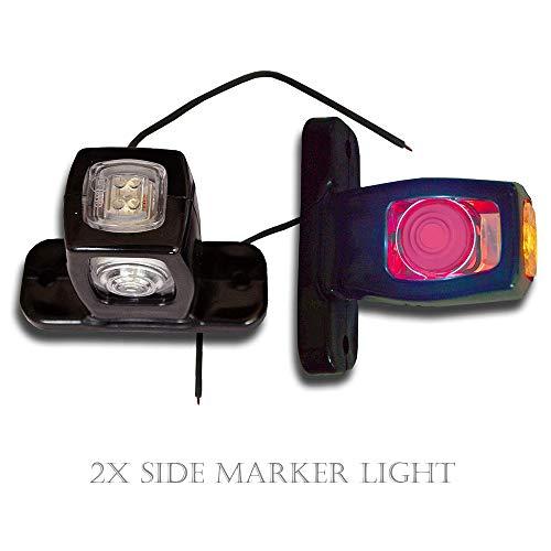 Maso 2 Luces de Posición Laterales Traseras, 4 LED, Rojo, Ámbar, Blanco, para 12 V Coche Camión Remolque