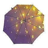 Diseño automático ligero compacto portátil del paraguas del viaje amarillo de las estrellas y alta resistencia del viento