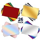 26 hojas de vinilo permanentes con parte trasera adhesiva, hojas de vinilo de 30.5 x 20,5 cm, 21 hojas de colores surtidos para Cricut, para decoración del hogar, logotipo, letras, pancartas,
