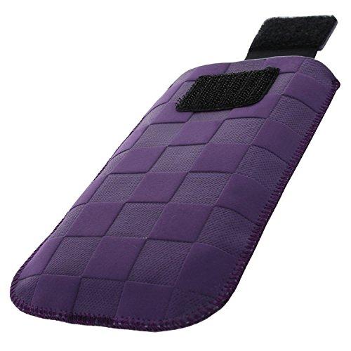 XiRRiX Handytasche mit Ausziehhilfe Size S kompatibel mit AEG Voxtel M250 - Doro PhoneEasy 6030 Primo 406 413 - Nokia 2720 Flip 2019 - Swisstone BBM 625 - Handy Tasche Purple