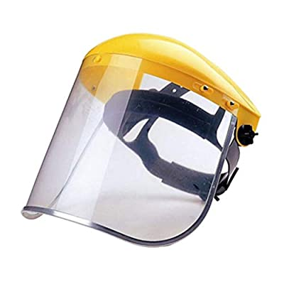 BESPORTBLE Safety Face Shield Eye Head Protection with Ratchet Headgear Clear Tint Anti-Fog Coating for Grinding Construction General Manufacturing Yellow