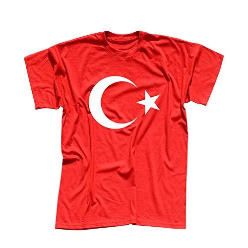 T-Shirt Türkei Türkiye Turkey Istanbul Antalya Fahne 13 Farben Herren XS - 5XL National Flagge Ankara Atatürk Süleymaniye-Moschee, Größe:L, Farbe/Logogröße:rot- Logo Weiss/Brust Mitte