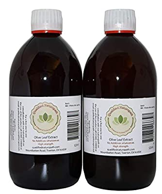 2 x 525 ml (1050ml) Olive Leaf Extract Glass Bottle Made by Our Herbalist