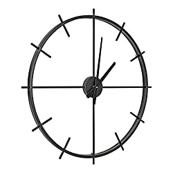 Kate and Laurel Isaac Modern Metal Wall Clock, 26, Black, Chic Functional Wall Decor for Home or Office