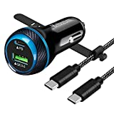 BiNboubou USB C Car Charger-45W Super Fast Car Charger PD27W PPS&QC3.0 Car Charger Adapter for Samsung Galaxy S21/Ultra/Plus/Note 20/S20 Series/iPhone 12/11 Series with 4FT Type-C to C Cable