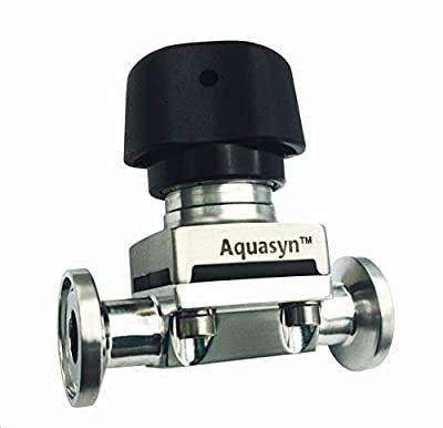 "Aquasyn Sanitary 1/2"" 2-Way Diaphragm Valve, 316L Stainless Steel [20 Ra/EP SF5], EPDM Diaphragm by Aquasyn"