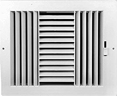 """HBW Three-Way Plastic Side Wall/Ceiling Register in White 10"""" w X 6"""" h for Duct Opening (Outside Dimension is 11.75"""" w X 8"""" h)"""