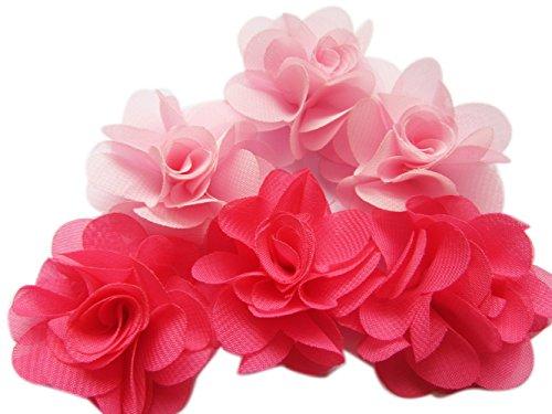 """YYCRAFT Pack of 30 Chiffon Flower 2"""" Hair Flower Headband-Pink/Hot Pink"""