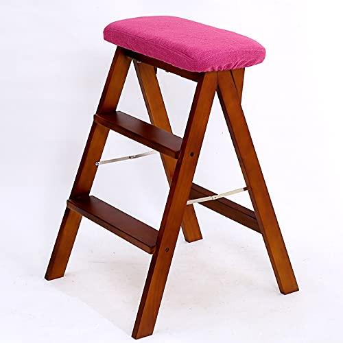 Scale pieghevoli Folding Passo Sgabello, Scala sedia pieghevole a doppio uso multifunzionale punto scala sgabello alto piede Stool delle famiglie Passo portatile Sgabello ( Color : Brown , Size : A )