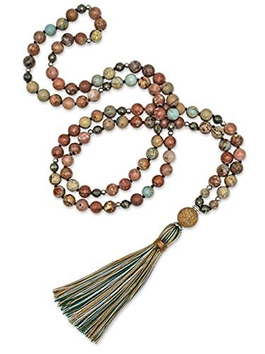 BENAVA Mala Kette aus 108 Perlen Bunt Jaspis Pyrit Stein | Yoga Kette mit Quaste und Achat Anhänger | 100 cm
