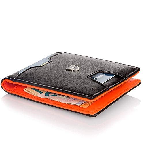 Kronenschein® Premium Herren Geldbörse mit Geldklammer Portemonnaie Männer Geldbeutel Slim Wallet Portmonee RFID Brieftasche Kreditkartenetui Kartenetui (Black - Orange)