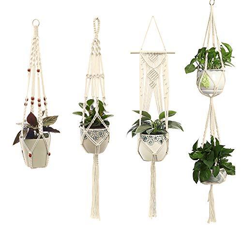 Macrame huishouden opknoping mand Plant katoenen touw voor bloempot Patio dek plafond Plant houder Vintage geknoopt mand Plant netto zak