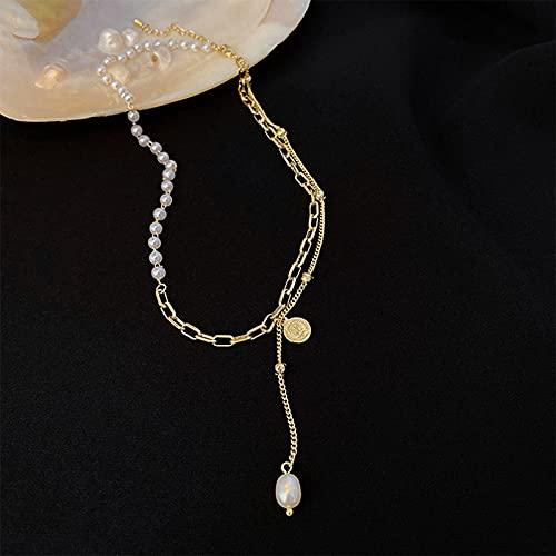 MIKUAM collarCollar de Brote Enorme, Colgante de Perlas Chapado en Oro Real, joyería de diseñador, Collar de Lujo para niña, Gargantilla de Mujer