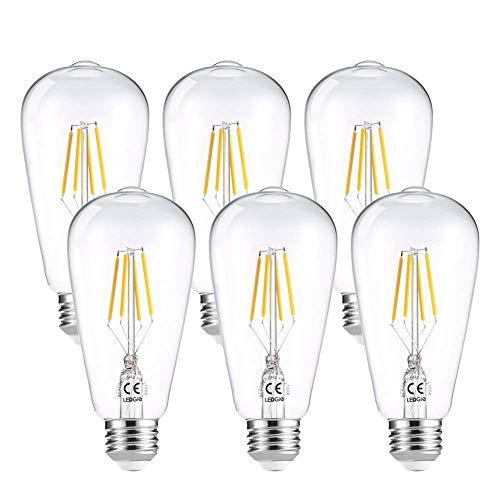 LEDGLE E27 ST64 Vintage Edison LED Glühbirne dimmbar superhell 4W=40W E27 Filament Fadenlampe Warmweiß 2700K 360 ° Abstrahlwinkel 6er-Pack