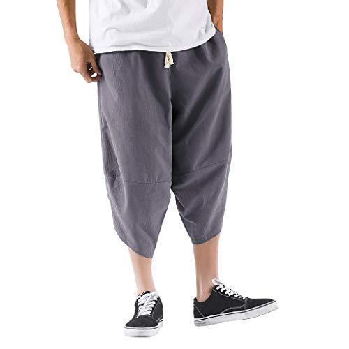 PowerFul-LOT Homme Sarouel 3/4 Shorts Bermudas Pantalon Short Taille Elastique Baggy Large Pantacourt Décontracté Léger Pantalon en Lin Unie Sarouel Aladdin Ballon Hippie Ethnique Pantacourt