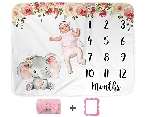 Couverture pour bébé éléphant, couverture pour mois de bébé, tapis de photographie pour bébé, cadeau de fête prénatale, cadeau pour les nouvelles mamans, suivi de croissance (127 x 101,6 cm, Minky)