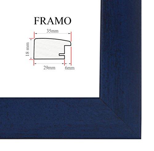 FRAMO 35mm Cadre Photo sur Mesure 42 x 60 cm (Bleu foncé Flou), Cadre Fait Main en MDF doté d'Un Verre synthétique antireflet, Largeur du Cadre : 35 mm, Dimensions extérieures : 47,8 x 65,8 cm