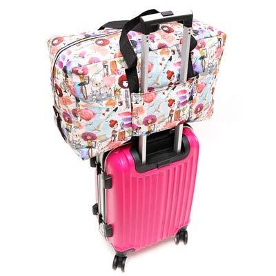 Mdsfe Foldable Travel Bag Women Large Capacity Portable Shoulder Duffle Bag Cartoon Printing Waterproof Weekend Luggage Tote Wholesale - Drawing girl