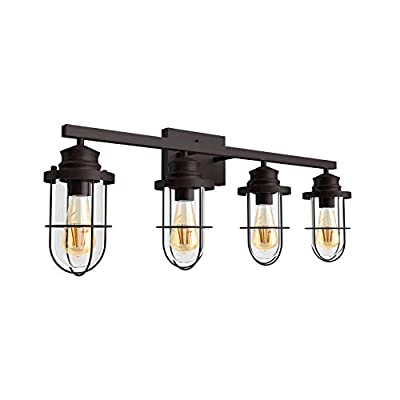 Tipace 4 Lights Industrial Bathroom Vanity Light Oil Rubbed Bronze Metal with Clear Glass Vintage Wall Mount Lighting Sconce(Exclude Bulb)