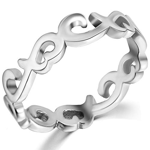 Jude Jewelers Stainless Steel Celtic Knot Heart Shaped Eternity Wedding Band Ring (Silver, 11)
