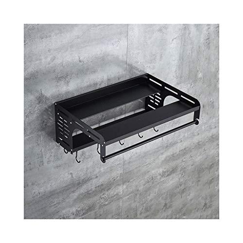 Tmpty Porta Forno a Microonde Scaffale in Alluminio a Muro,Mensole per Cucina Salvaspazio da Parete con Gancio,Nero 55×39×21cm