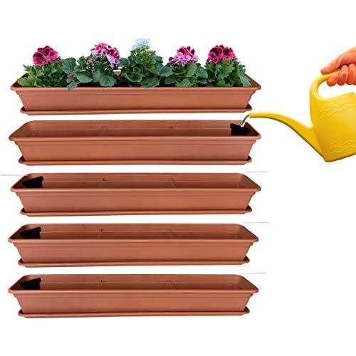 4er Blumenkasten Set Balkonkasten Pflanzkasten Terracotta mit Bewässerungssystem und Balkonkasten Untersetzer 100cm