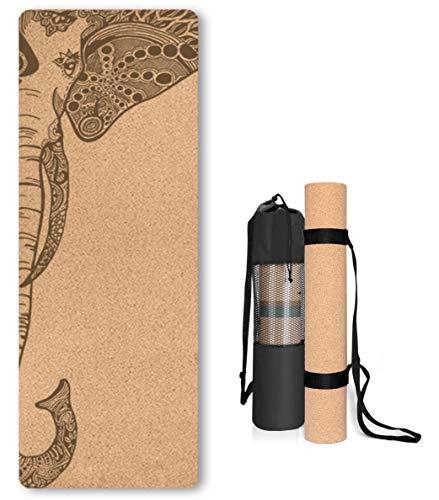 Kork yogamatta halkfri unik design naturlig kork tpe material fitness träningsmatta med bärväska...