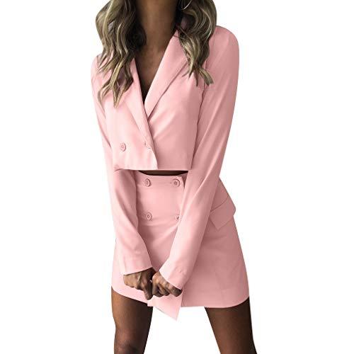 cinnamou Damen Elegant Outfits Anzug Gesetzt Rock und Top Sets Damen 2 Stück Set Outfits Frauen Zweiteiler Short Jacket + Paket Hip Slim Fit Coat High Waist Skirt